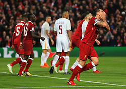 Dejan Lovren of Liverpool reacts after missing a chance - Mandatory by-line: Matt McNulty/JMP - 24/04/2018 - FOOTBALL - Anfield - Liverpool, England - Liverpool v Roma - UEFA Champions League Semi Final, 1st Leg