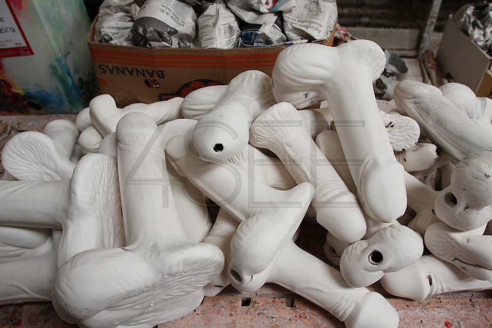 Erotic ceramic mugs phallus created by Francisco Silva in his atelier at Chao da Parada, in Caldas da Rainha city. He is one of the last artisans of this kind of erotic pottery  traditional to Caldas da Rainha, in the center region of Portugal.