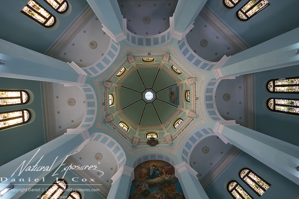 An ornate ceiling in the church of the Christopher Columbus Cemetery, Havana, Cuba.