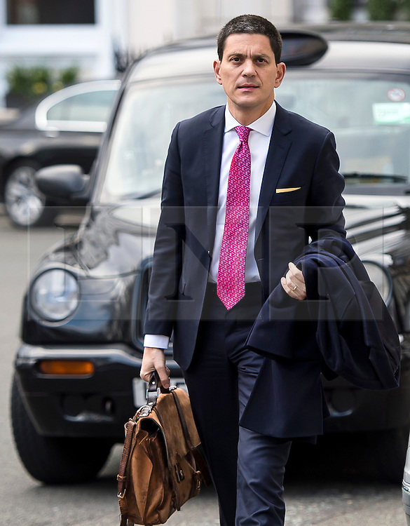 © Licensed to London News Pictures. 03/02/2016. London, UK. President and CEO, International Rescue Committee DAVID MILIBAND arrives at Chatham House in London to speak about the current refugee crisis, five years on from the beginning of the Syria conflict.  Photo credit: Ben Cawthra/LNP