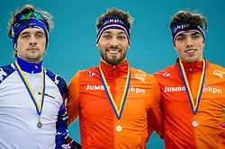 10-12-2016 NED: ISU World Cup Speed Skating, Heerenveen<br /> 1500 m men / Kjeld Nuis heeft bij de wereldbeker schaatsen in Heerenveen goud gewonnen op de 1500 meter. Ploeggenoot Patrick Roest behaalde brons in 1.46,42. Wereldkampioen Denis Yuskov uit Rusland eindigde op de tweede plaats (1.45,41).