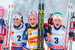 21.02.2016, Salpausselkae Stadion, Lahti, FIN, FIS Weltcup Langlauf, Lahti, Damen Skiathlon, im Bild v.l.: Heidi Weng (NOR, 2. Platz), Therese Johaug (NOR), Ingvild Flugstad Oestberg (NOR, 3. Platz) // f.l.: 2nd placed Heidi Weng of Norway, Winner Therese Johaug of Norway, 3rd placed Ingvild Flugstad Oestberg of Norway  during Ladies Skiathlon FIS Cross Country World Cup, Lahti Ski Games at the Salpausselkae Stadium in Lahti, Finland on 2016/02/21. EXPA Pictures © 2016, PhotoCredit: EXPA/ JFK