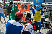 Cosplayers imitate the game Pokemon Go during the Comic Market 90 (Comiket) event in Tokyo Big Sight on August 14, 2016, Tokyo, Japan. Many manga and anime fans wearing cosplay lined up in the sun for the third day of Comiket. Comiket was established in 1975 and focuses on manga, anime, gaming and cosplay. Organizers expect more than 500,000 visitors to attend this year's summer event which runs for three days until August 14.. 14/08/2016-Tokyo, JAPAN