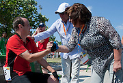 (L) athlete Jacek Cieslik of SO Poland & (C) Zbigniew Niemczycki & Anna Komorowska - First Lady of Poland Athlete while cycling competition during 2011 Special Olympics World Summer Games Athens on June 27, 2011..The idea of Special Olympics is that, with appropriate motivation and guidance, each person with intellectual disabilities can train, enjoy and benefit from participation in individual and team competitions...Greece, Athens, June 27, 2011...Picture also available in RAW (NEF) or TIFF format on special request...For editorial use only. Any commercial or promotional use requires permission...Mandatory credit: Photo by © Adam Nurkiewicz / Mediasport