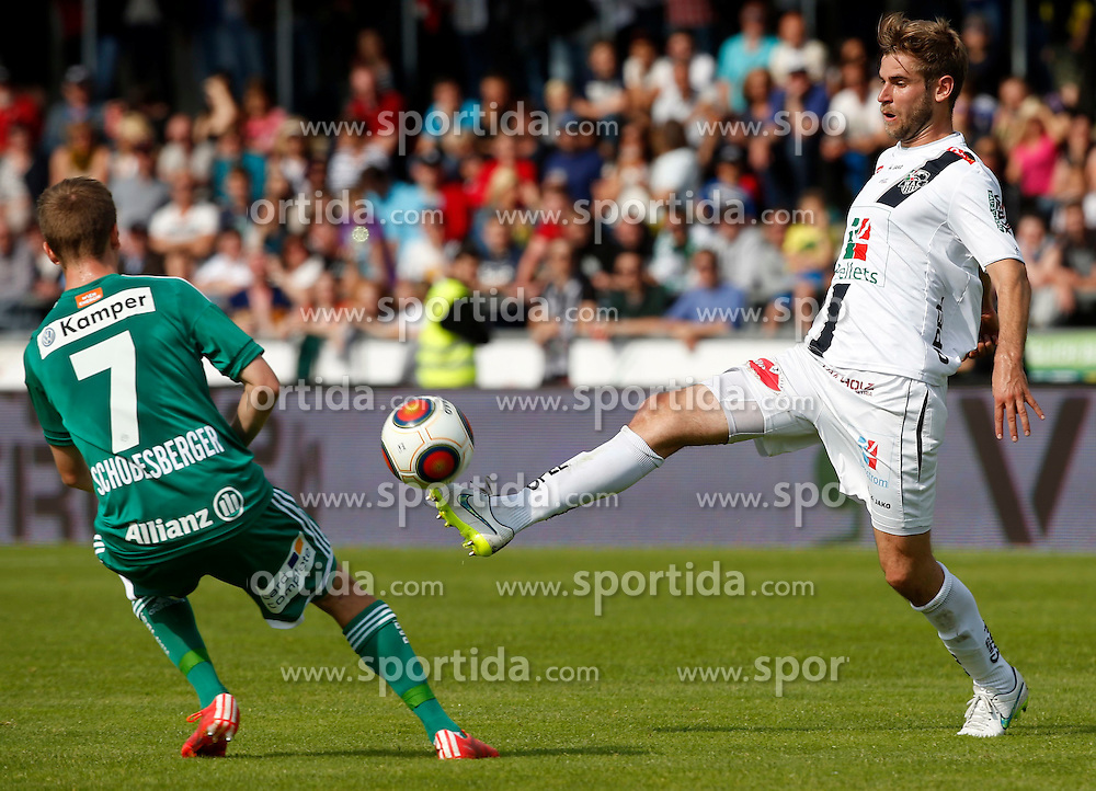 31.05.2015, Stadion Wolfsberg, Wolfsberg, AUT, 1. FBL, RZ Pellets WAC vs SK Rapid Wien, 35. Runde, im Bild v.l. Philipp Schobesberger (SK Rapid Wien) und Manuel Weber (RZ Pellets WAC) // during the Austrian Football Bundesliga 35th Round match between RZ Pellets WAC and SK Rapid Vienna at the Stadium Wolfsberg in Wolfsberg Austria on 2015/05/31, EXPA Pictures © 2015, PhotoCredit: EXPA/ Wolfgang Jannach