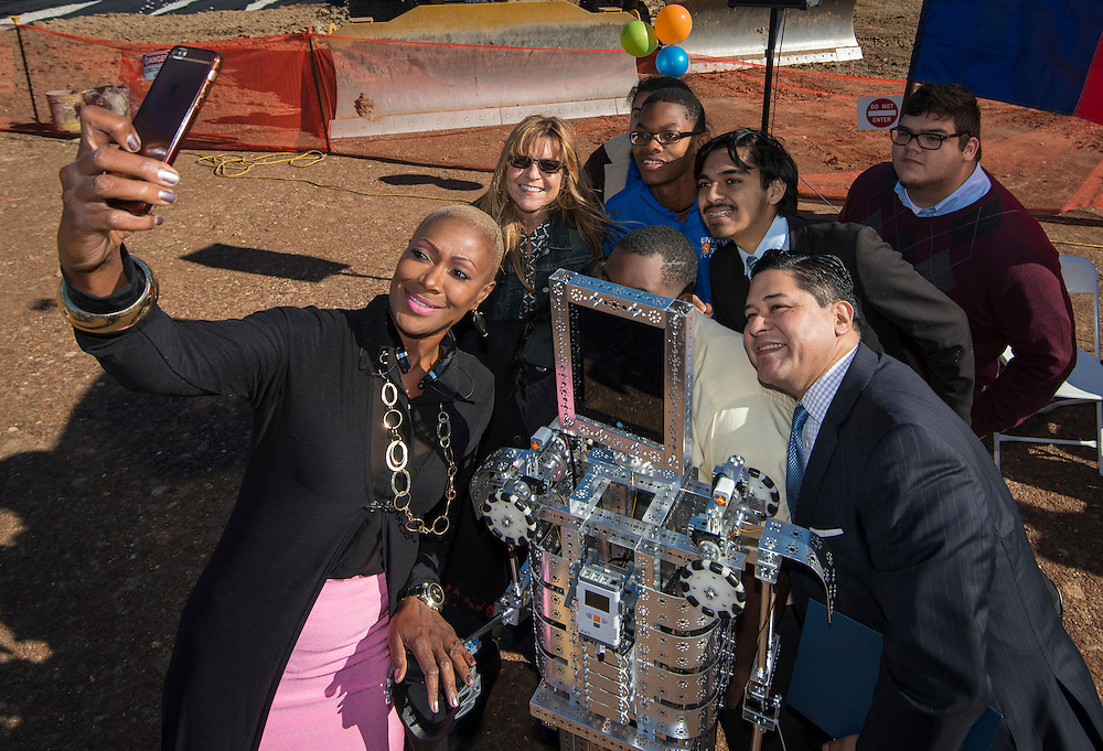Houston ISD Trustee Jolanda Jones takes a selfie with Superintendent Richard Carranza and students during a groundbreaking ceremony for the new Energy Institute High School, November 19, 2016.