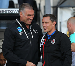 Derby County manager Nigel Pearson (L) and Grimsby Town manager Paul Hurst before the match - Mandatory by-line: Jack Phillips/JMP - 09/08/2016 - FOOTBALL - iPro Stadium - Derby, England - Derby County v Grimsby Town - EFL Cup First Round