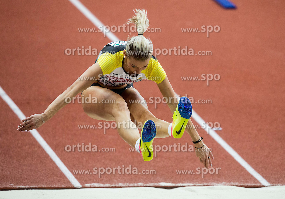 Kristin Gierisch of Germany competes in the Triple Jump Women Final on day two of the 2017 European Athletics Indoor Championships at the Kombank Arena on March 4, 2017 in Belgrade, Serbia. Photo by Vid Ponikvar / Sportida