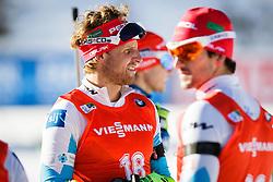 Jakov Fak (SLO) and Klemen Bauer (SLO) during Men 12,5 km Pursuit at day 3 of IBU Biathlon World Cup 2015/16 Pokljuka, on December 19, 2015 in Rudno polje, Pokljuka, Slovenia. Photo by Ziga Zupan / Sportida