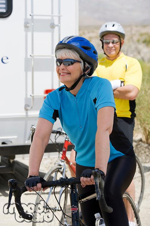 Senior couple with bikes