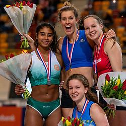 Killiana Heymans second, Femke Pluim first, Marijke Wijnmaalen and Fleur van der Linden third on pole vault during the Dutch Indoor Athletics Championship on February 23, 2020 in Omnisport De Voorwaarts, Apeldoorn