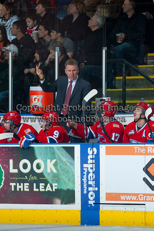 KELOWNA, CANADA -JANUARY 29: Head coach Don Nachbaur of the Spokane Chiefs  discusses a play with Mitch Holmberg RW #17 of the Spokane Chiefs during the second period against the Kelowna Rockets on January 29, 2014 at Prospera Place in Kelowna, British Columbia, Canada.   (Photo by Marissa Baecker/Getty Images)  *** Local Caption *** Don Nachbaur; Mitch Holmberg;