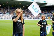 Leeds United mascots with new sponsor 'WISH' during the EFL Sky Bet Championship match between Leeds United and Nottingham Forest at Elland Road, Leeds, England on 10 August 2019.