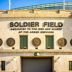 Soldier Field stadium sign photo. Soldier Field is home to the Chicago Bears NFL football team. Copyright ⓒ 2015 Paul Velgos with All Rights Reserved.