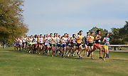 Nov 9, 2018; Sacramento, CA, USA; Nick Hauger (317) of Portland, Jack Rowe (400) and Chris Olley (399) of San Francisco, Anthony Alfaro (91) of Cal St. Fullerton and John Carter Blunt (565) of UCLA lead the men's race during the NCAA West Regional at Haggin Oaks Golf Course. Hauger won in 29:42.