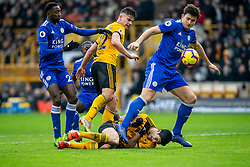 January 19, 2019 - Wolverhampton, England, United Kingdom - Raul Jimenez of Wolverhampton Wanderers on the floor as Harry Maguire of Leicester City tries to clear the ball during the Premier League match between Wolverhampton Wanderers and Leicester City at Molineux, Wolverhampton, UK. On Saturday 19th January 2019. (Credit Image: © Mark Fletcher/NurPhoto via ZUMA Press)