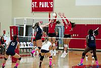 St Paul's School varsity Volleyball.  ©2019 Karen Bobotas Photographer