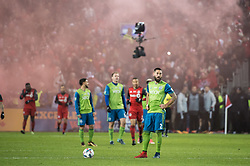 December 9, 2017 - Toronto, Ontario, Canada - Seattle Sounders midfielder CLINT DEMPSEY (2) watches a replay of the first Toronto FC goal during the MLS Cup championship match at BMO Field in Toronto, Canada.  Toronto FC defeats Seattle Sounders 2 to 0. (Credit Image: © Mark Smith via ZUMA Wire)