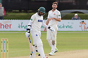 Richard Gleeson has words with Hassan Azad  during the Specsavers County Champ Div 2 match between Leicestershire County Cricket Club and Lancashire County Cricket Club at the Fischer County Ground, Grace Road, Leicester, United Kingdom on 26 September 2019.