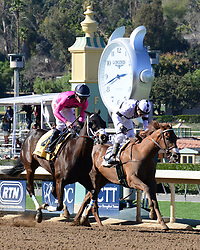 February 25, 2018 - Arcadia, CA, USA - MONDAYMORNINGBLUES [4] with jockey TYLER BAZE nose out second place finisher SOUTH BOOT SHIRLEY with jockey GEOVANNI FRANCO in an exciting photo finish in the 5th race at Santa Anita Race Track, Arcadia, California, USA, February 24, 2018...Credit Image cr  Scott Mitchell/ZUMA Press (Credit Image: © Scott Mitchell via ZUMA Wire)