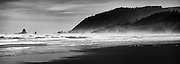 Cannon Beach Winter Panorama.  Stitched from seven frames in vertical format.
