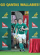Brian O'Driscoll leads Ireland onto Suncorp Stadium during action from the Rugby Union Test Match played between Australia and Ireland at Suncorp Stadium (Brisbane) on Saturday 26th June 2010 ~ Australia (22) defeated Ireland (15) ~ © Image Aura Images.com.au ~ Conditions of Use: This image is intended for Editorial use as news and commentry in print, electronic and online media ~ Required Image Credit : Steven Hight (AURA Images)For any alternative use please contact AURA Images
