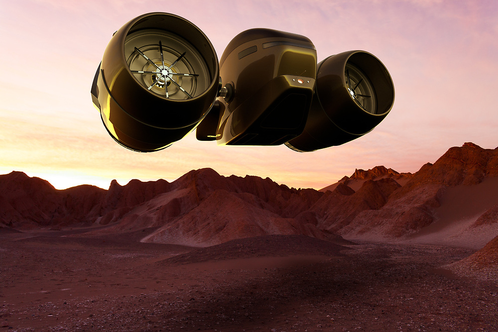 3D rendering of a Space cargo ship landing on Mars