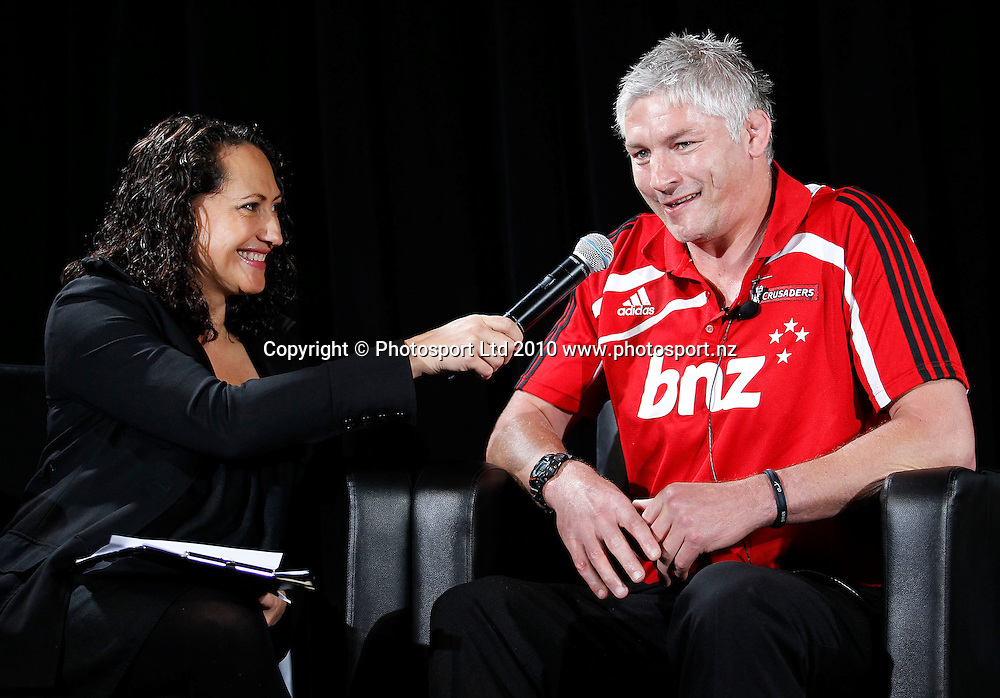 Crusaders coach Todd Blackadder interviewed by Rugby Channels Melodie Robinson. . 2011 Investec Super 15 New Zealand franchises rugby squad naming, Eden Park, Auckland, Wednesday 10 November 2010. Photo: Simon Watts/photosport.co.nz