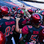 31 August 2019: San Diego State Aztecs quarterback Ryan Agnew (9) leads the team onto the field during warm-ups prior to he San Diego State Aztecs taking on the Weber State Wildcats. The Aztecs lead Weber St. 3-0 at halftime. More game action at sdsuaztecphotos.com (Credit: Derrick Tuskan/San Diego State)