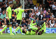 Sam Baldock, Kazenga LuaLua goal celebration forward role during the Sky Bet Championship match between Fulham and Brighton and Hove Albion at Craven Cottage, London, England on 15 August 2015. Photo by Matthew Redman.