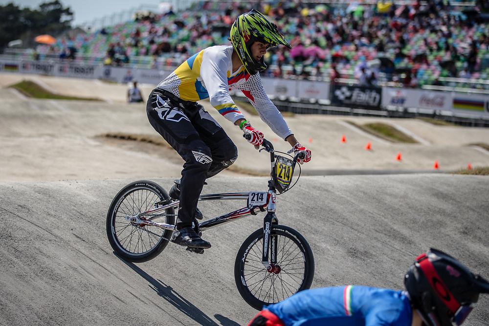 16 Boys #214 (OCHOA NEVAREZ Juan Jose) ECU at the 2018 UCI BMX World Championships in Baku, Azerbaijan.