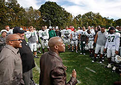 "October 8, 2009; Florham Park, NJ; USA; Floyd ""Money"" Mayweather speaks to the New York Jets after their practice in Florham Park, NJ."
