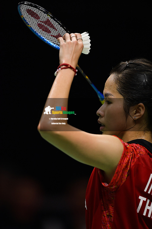 BANGKOK, THAILAND - MAY 26: Ratchanok Intanon of Thailand in action on Court 1 during her Uber Cup Finals match against Akane Yamaguchi of Japan at the BWF Total Thomas and Uber Cup Finals 2018, Impact Arena , Bangkok, Thailand on May 26, 2018.<br /> .<br /> .<br /> .<br /> Photo by: Naratip Golf Srisupab/SEALs Sports Images<br /> <br /> .<br /> All photo must include a credit line adjacent to the content: Naratip Golf Srisupab/SEALs Sports Images