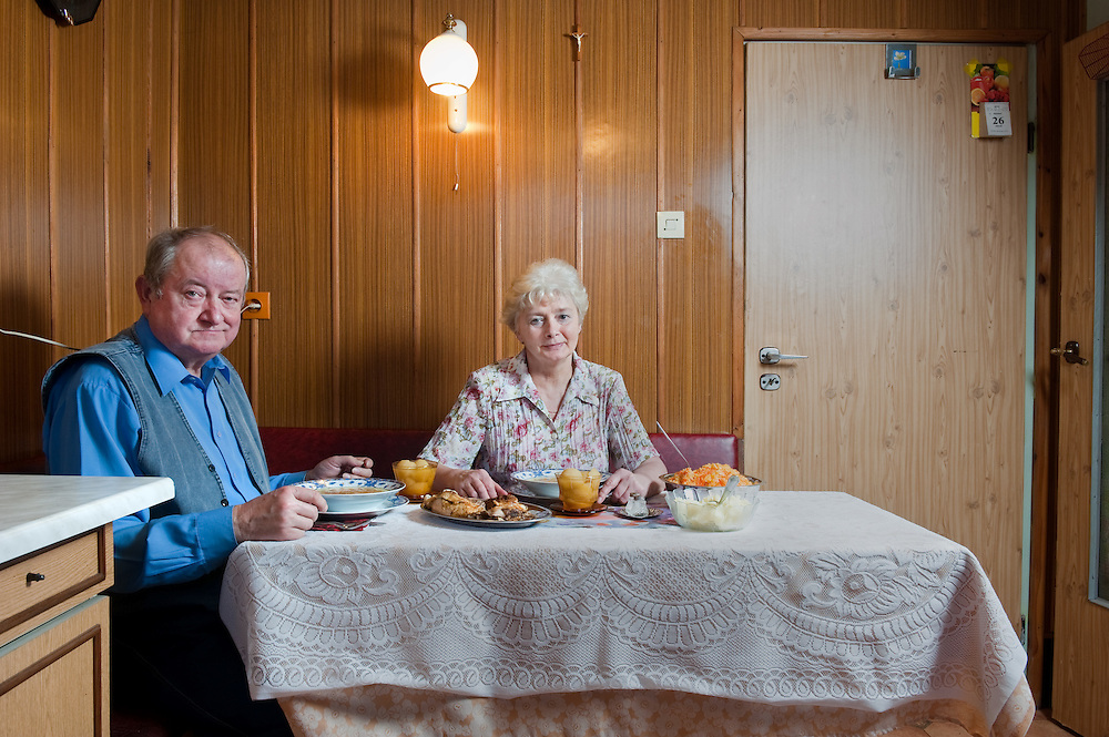 Piotr 66, Janina 65<br /> Zabrze, Poland average income, medium education<br /> <br /> Both we are pensioners now, but we used to work in the construction industry. Piotr in the power plant and Janina in a house building company.