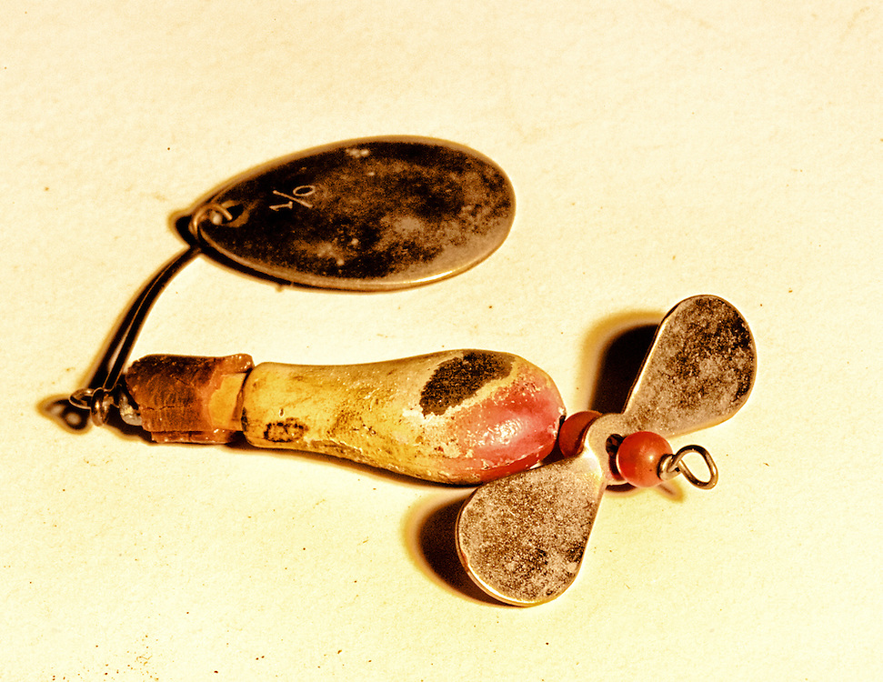 From my grandfather's tackle box, a vintage fishing lure, 1940s.