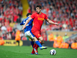 05.05.2013, Anfield, Liverpool, ENG, Premier League, FC Liverpool vs FC Everton, 36. Runde, im Bild Liverpool's Jose Enrique in action against Everton during the English Premier League 36th round match between Liverpool FC and Everton FC at Anfield, Liverpool, Great Britain on 2013/05/05. EXPA Pictures © 2013, PhotoCredit: EXPA/ Propagandaphoto/ David Rawcliffe..***** ATTENTION - OUT OF ENG, GBR, UK *****