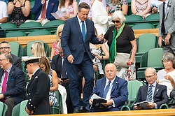 © Licensed to London News Pictures. 06/07/2018. London, UK. David Cameron and mother Mary Cameron arrive on the centre court tennis in the royal box on the fifth day of the Wimbledon Tennis Championships 2018 held at the All England Lawn Tennis and Croquet Club. Photo credit: Ray Tang/LNP