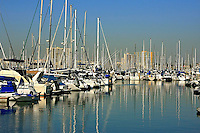The  reflection of  Sailboats  docked in Long Beach California marina