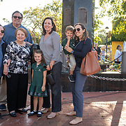 MIAMI, FLORIDA, APRIL 17, 2018<br /> The Millan family, four generations of Cuban Americans, in front of the 2506 Brigade Memorial in Little Havana. Myrna Millan, 80 (in black and white top) is the widow of Jos&eacute; &quot;Pepe&quot; Millan, a 2506 Brigade soldier. With her, from left; Myrna Millan, 61, Jose Millan, 60, Debbie Millan, 58, Victoria Armengol Gempton, 34 and her children Emma Gempton, 6, and Charles Gempton, 3.<br /> (Photo by Angel Valentin/Freelance)