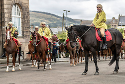 Performers at the Royal Edinburgh Military Tattoo complete their final preparations for the 2018 Tattoo at Redford Barracks in Edinburgh.