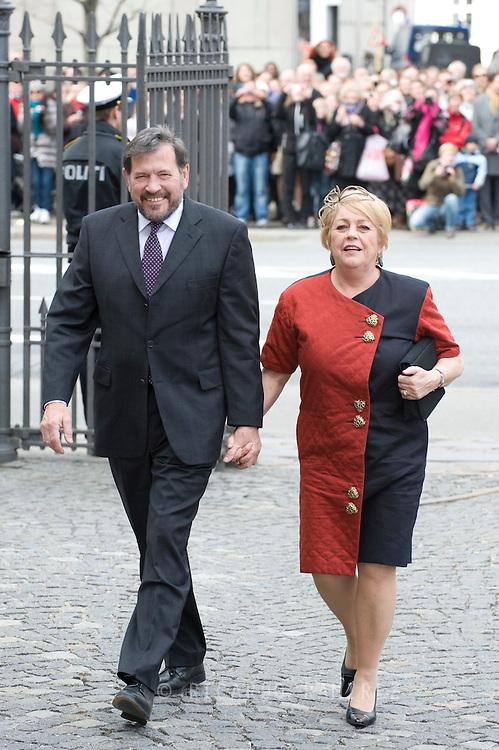 14.04.11. Copenhagen, Denmark.Princess Mary's father Mr. John Donaldson and his woman Mrs. Susan Moody's arrival to the Holmens Church to christening ceremony.Photo: Ricardo Ramirez