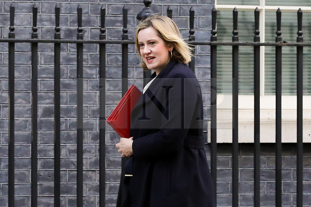 © Licensed to London News Pictures. 19/02/2019. London, UK. Amber Rudd - Secretary of State for Work and Pensions arrives in Downing Street for the weekly Cabinet meeting. Photo credit: Dinendra Haria/LNP