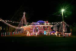 22nd December 2010. Galliano, Louisiana, USA. <br /> Christmas on the bayou. Christmas lights and decorations adorn a house.<br /> Photo; Charlie Varley