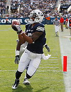 BYU wide receiver Cody Hoffman (2) catches a pass for a touchdown from quarterback Jake Heaps during the first half of an NCAA college football game against UNLV at LaVell Edwards Stadium, Saturday, Nov. 6, 2010, in Provo, Utah.  (AP Photo/Colin E. Braley)