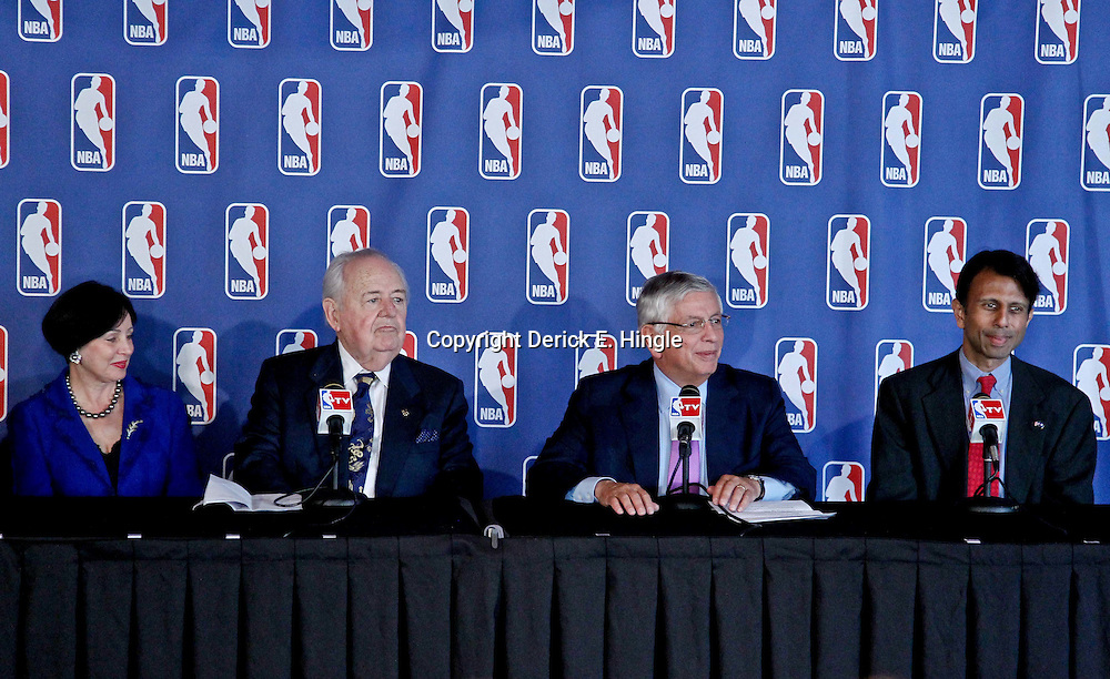 April 16, 2012; New Orleans, LA, USA; New Orleans Hornets and Saints owner Tom Benson and his wife Gayle Benson are joined by NBA commissioner David Stern and Louisiana Governor Bobby Jindal during announcement that the NBA has awarded the 2014 NBA All-Star game to the city of New Orleans during a press conference at the New Orleans Arena.   Mandatory Credit: Derick E. Hingle-US PRESSWIRE