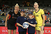 ANZ Future Captains McKenzie Campbell, age 12, and Ava Johnston age 12, pose with Magic captain Casey Kopua and Pulse captain Katrina Grant ahead of the ANZ Premiership netball match - Magic v Pulse played at Claudelands Arena, Hamilton, New Zealand on Sunday 20 May 2018.<br /> <br /> Copyright photo: © Bruce Lim / www.photosport.nz