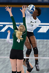 Michigan State middle blocker Alexis Mathews. <br /> <br /> Michigan State Women's Volleyball team hosted Ohio University in the first round of the 2013 NCAA Division I Volleyball Tournament, Saturday, Dec. 07, 2013 at Memorial Coliseum in Lexington. Photo by Jonathan Palmer