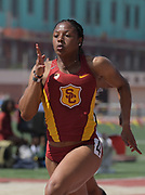 Mar 18, 2017; Los Angeles, CA, USA; Destinee Brown of Southern California wins the women's 100m in 11.52 during the Trojan Invitational at Cromwell Field.
