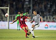 THESSALONIKI, GREKLAND - AUGUSTI 17: Sotirios Papagiannopoulus of Oestersunds FK och Aleksandar Prijovic of PAOK Saloniki FC under UEFA Europa League Qualifying Play-Offs round first leg match mellan PAOK Saloniki och &Ouml;stersunds FK p&aring; Toumba Stadium, August 17, 2017 i Thessaloniki, Grekland. Foto: Nils Petter Nilsson/Ombrello<br /> ***BETALBILD***