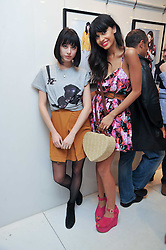 Left to right, ANNIE MONROE of The Like and JAMEELA JAMIL at the Mother of Pearl Launch at The Other Criteria, 36 New Bond Street, London W1 on 12th April 2011.